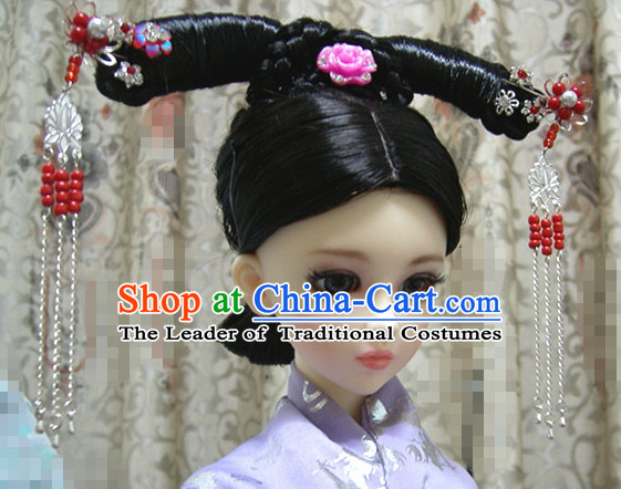 Ancient Chinese Style Prince Empress Long Black Wigs and Accessories for Women Girls Adults Children