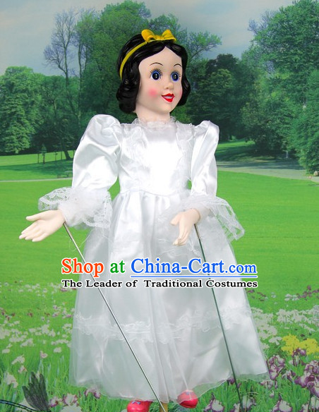 Chinese Handmade White Snow Princess Hand Marionette Puppet Hand Puppets