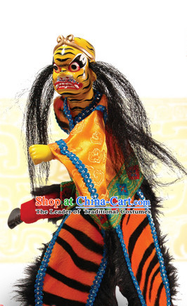 Traditional Chinese Handmade Yellow Tiger Immortal Hand Puppets Hand Marionette Puppet