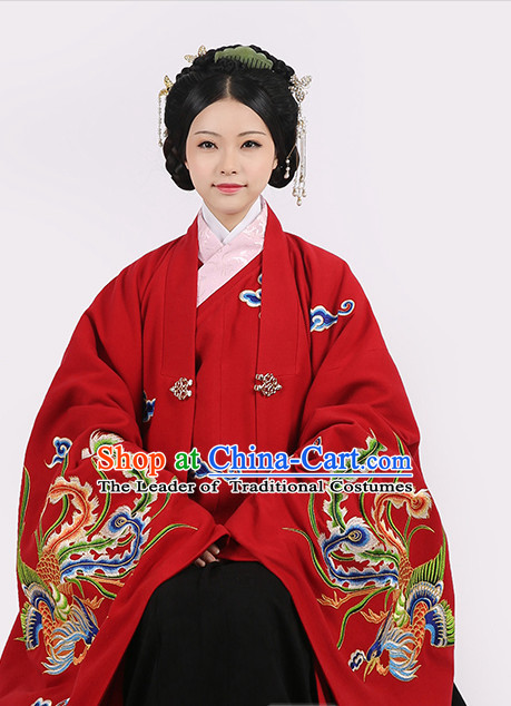 Ancient Chinese Han Dynasty Embroidered Phoenix Wedding Dresses Complete Set for Men or Women