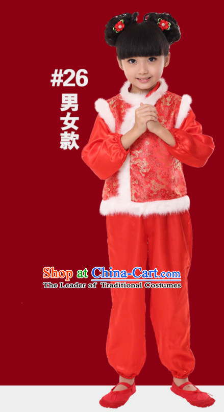 Chinese Traditional New Year Dance Costume for Girls Kids Children