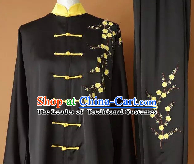 Yellow Top Embroidered Mandarin Tai Chi Taiji Martial Arts Competition Uniforms Dresses Suits Outfits