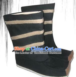Ancient Chinese Film Handmade Black Boots for Men Boys Adults Children