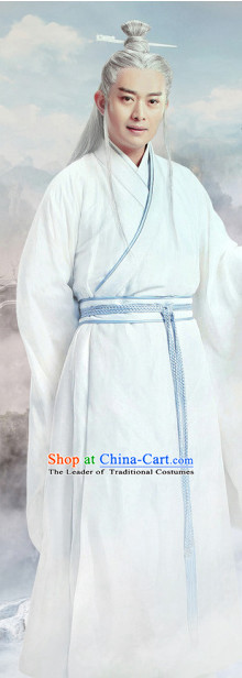 Ancient Chinese Swordsman Knight Costumes and Hair Jewelry Complete Set for Men
