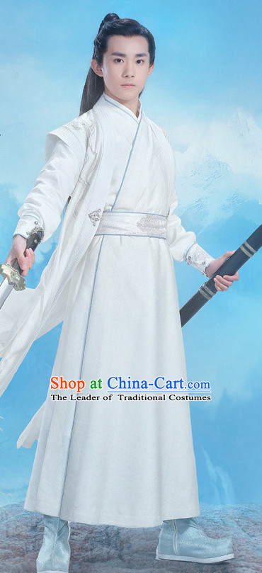 Ancient Swordsmen Costumes and Hair Jewelry Complete Set for Boys Kids Youth Children
