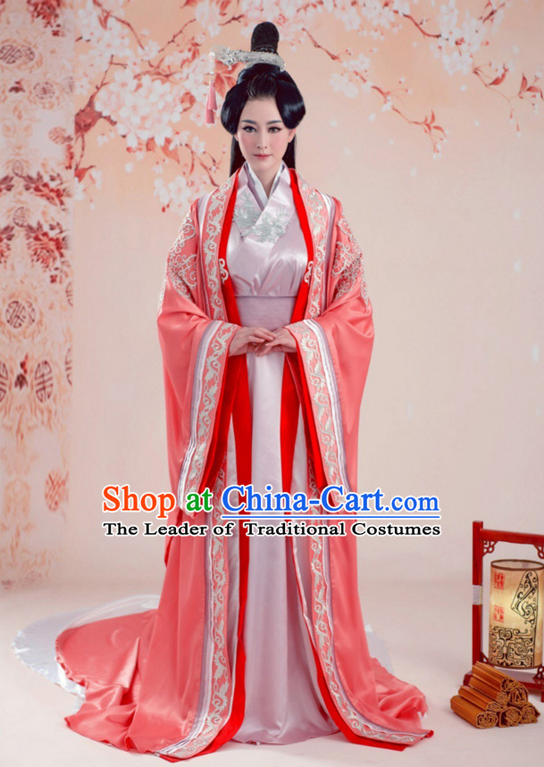 Chinese Ancient Princess Dresses and Hair Jewelry Complete Set for Women