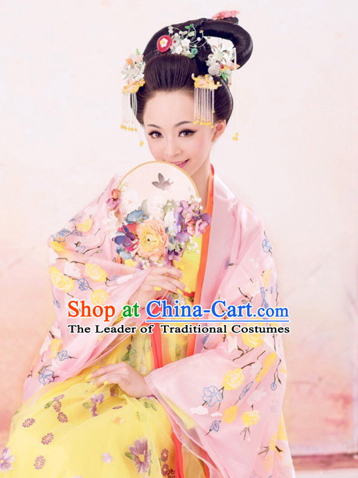 Chinese Ancient Princess Queen Dresses and Hair Jewelry Complete Set for Women