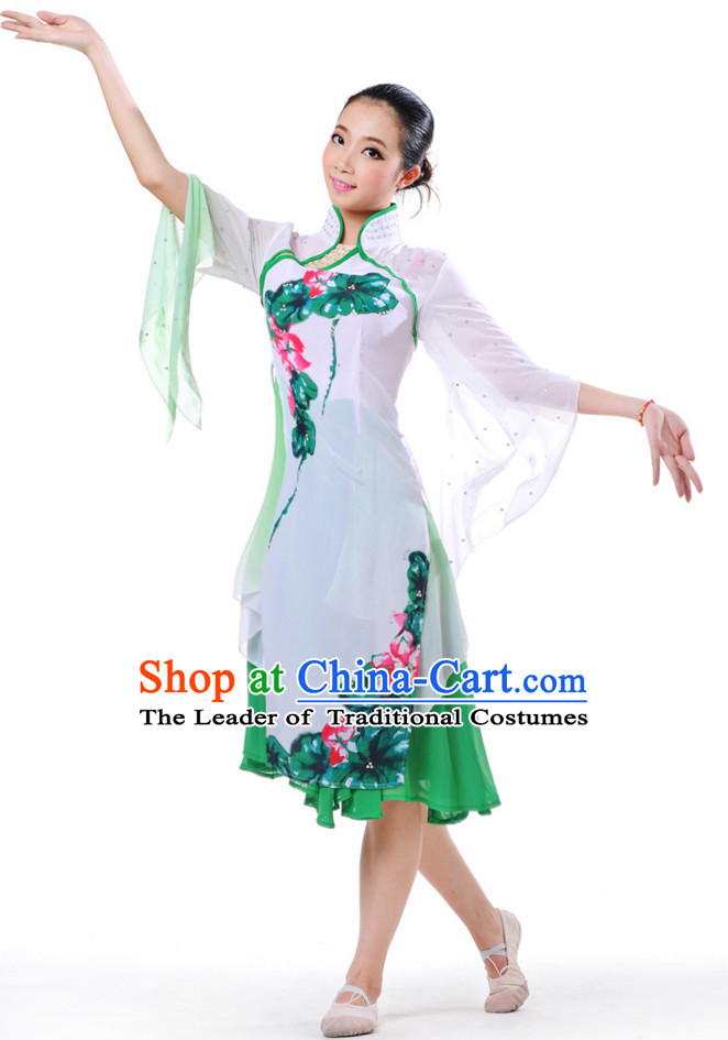Chinese Classical Fan Group Dance Costume and Headdress Complete Set for Women