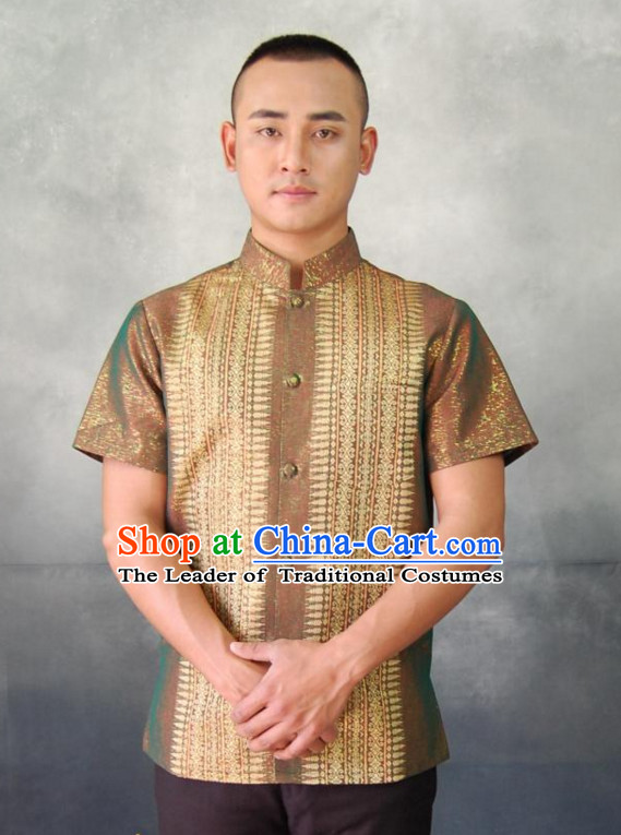 Traditional National Thai Shirt Dress Thai Traditional Dress Dresses Wedding Dress online for Sale Thai Clothing Thailand Clothes for Men Boys Youth