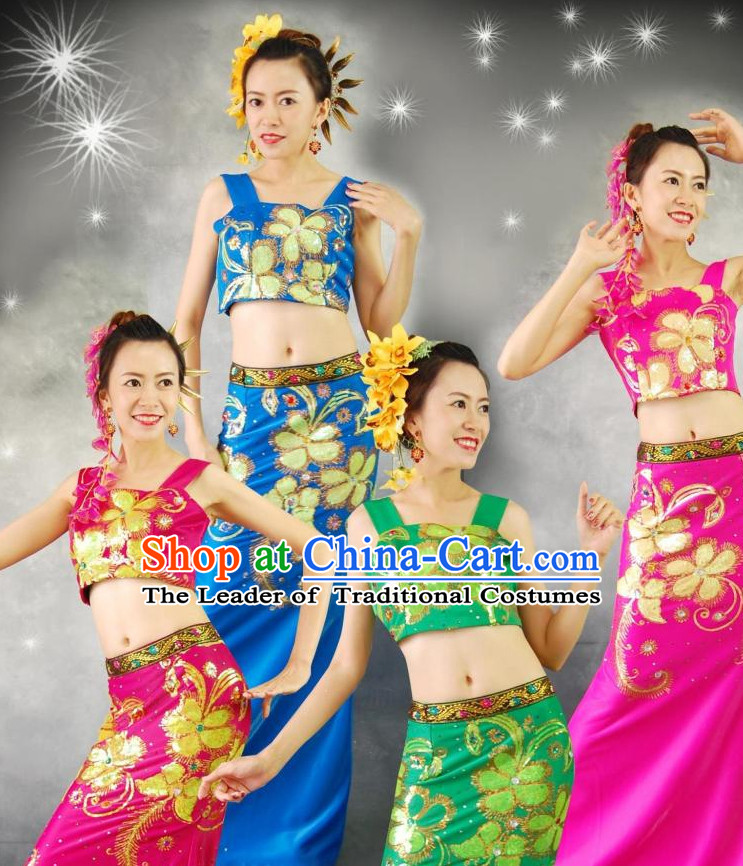 Traditional National Thai Dance Costumes Dress Thai Traditional Dress Dresses Wedding Dress online for Sale Thai Clothing Thailand Clothes Complete Set for Women Girls Adults Youth Kids