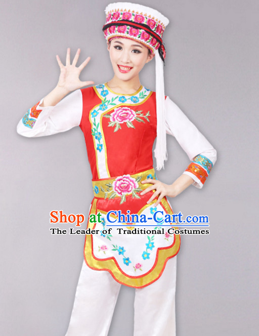 Chinese Minority Dance Costumes Dancewear and Headpieces Complete Set for Women