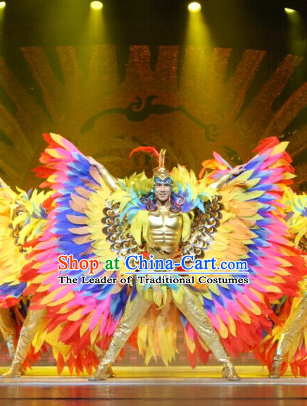 Chinese Famous Fantasy Stage Dance Sun Bird Tai Yang Niao Costumes and Hat Complete Set with Big Wings