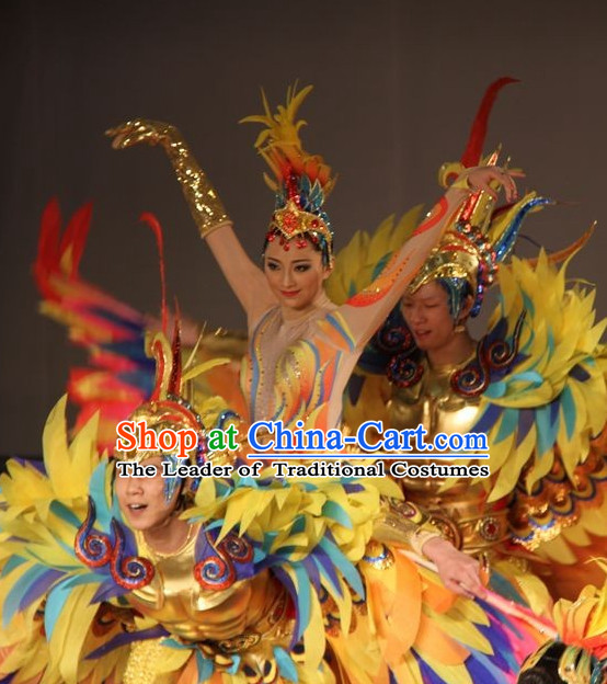 Chinese Famous Fantasy Stage Dance Sun Bird Tai Yang Niao Costumes and Hat Complete Set for Women