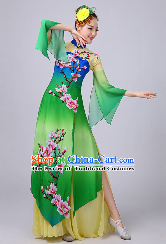 Chinese Plum Blossom Classical Dancing Costume and Headdress Complete Set for Women or Girls