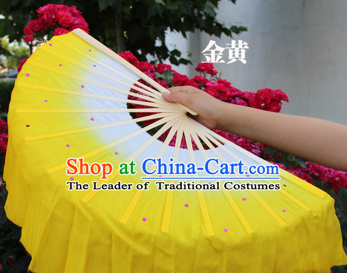 White to Yellow Color Transition Traditional Chinese Pure Silk Dance Fan