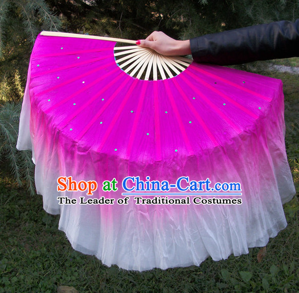 Two Sides 100% Pure Silk Professional Dancing Fan for Women Men Adults