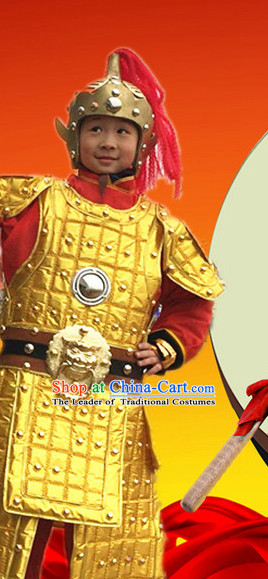 Ancient Chinese General Knight Costumes and Hat Complete Set for Children