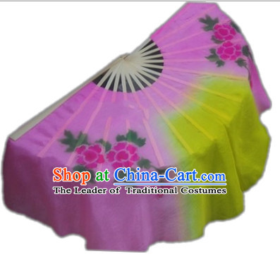 Pure Silk Traditional Hands Painted Chinese Fans Oriental Fan Folk Dance Hand Fan Dance Ribbons Cultural Dances