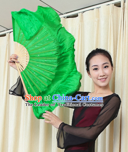Traditional Chinese Green Pure Silk Dance Fan with Sequins