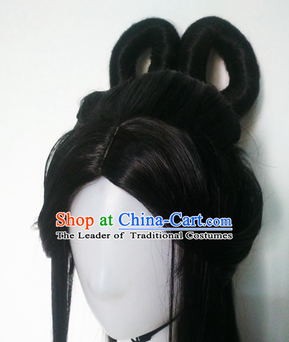 Traditional Chinese Princess Queen Long Black Wigs