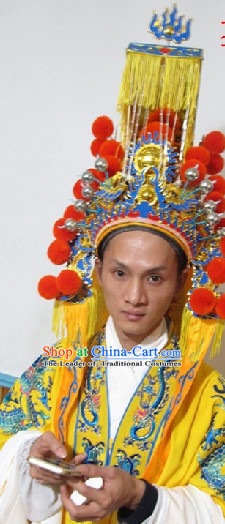 Chinese Headdress Opera Emperor Crown for Adults Kids Children Men Boys