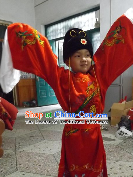 Ancient Chinese Bodyguard Swordsman Costume and Hat Complete Set for Kids Children