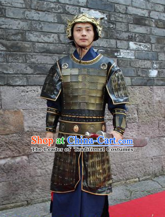 Asian Chinese General Long Dresses Hanfu Costume Clothing Chinese Robe Chinese Kimono and Helmet Complete Set for Men