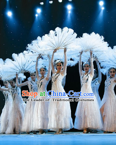 Chinese Traditional Snowflower Dance Costumes Complete Set for Women or Gilrs