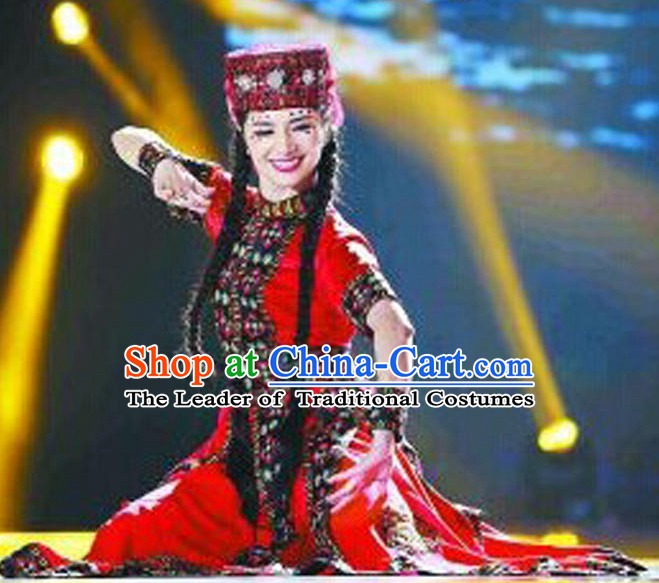 Chinese Traditional Xinjiang Dance Costume Complete Set for Women or Gilrs
