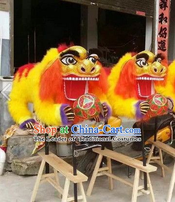 Two Persons Holding Lion Dance Props Costumes for Display or Collections