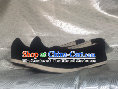 Black Chinese Ancient Handmade Traditional Bow Fabric Shoes for Women and Girls