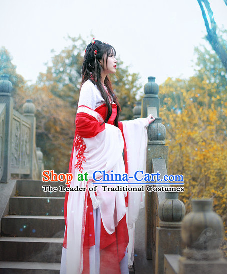 Top Chinese Ancient Red Princess Costumes and Hair Accessories Complete Set
