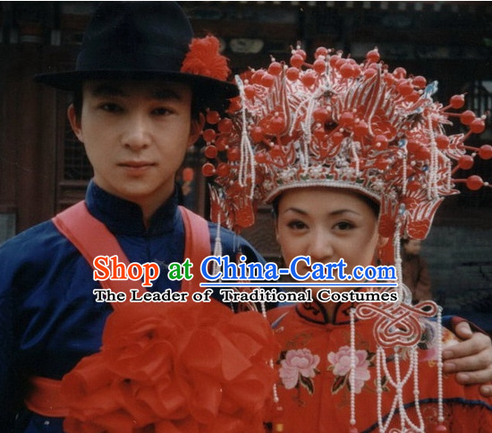 Chinese Traditional Classical Wedding Hairstyles Black Hat and Phoenix Coronet for Men and Women