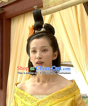 the Tang Dynasty Hairstyles Black Long Wigs and Hair Accessories for Women