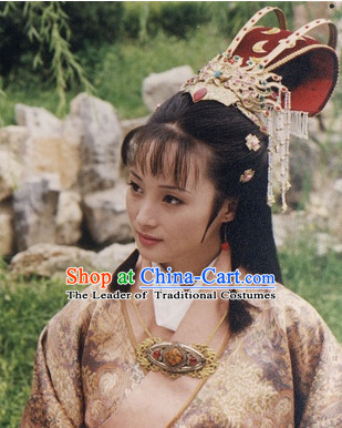Ancient Chinese Beauties Princess Female Long Black Wigs and Hair Styling Accessories Hair Clips Hairpins Jewelry