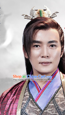 Ancient Chinese Fashion Kung Fu Master Prince Black Long Wigs and Hair Accessory for Men or Boys