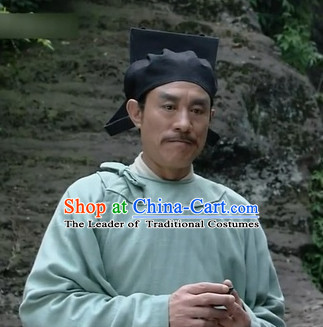 Ancient Chinese Male Black Hat Traditional Headwear for Men or Boys