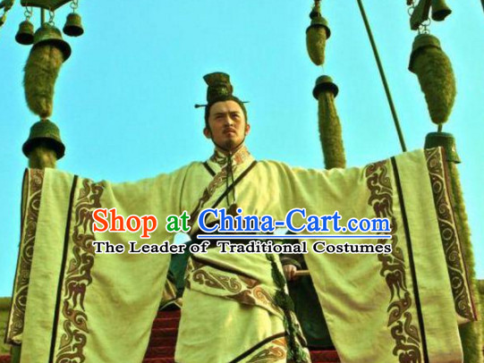 Ancient Chinese Style Authentic Emperor Clothes Culture Costume Han Dresses Traditional National Dress Clothing and Headwear Complete Set for Men Boys