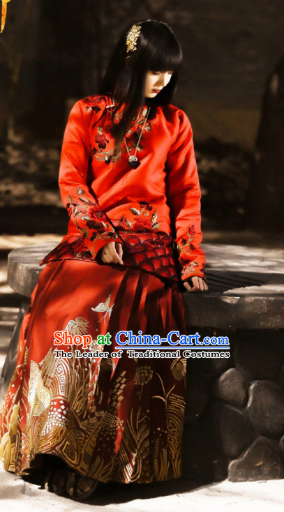 Wuxin The Monster Killer Drama Minguo Chinese Style Authentic Long Thick Winter Robe Clothes Culture Costume Dresses Traditional National Dress Clothing and Headwear Complete Set