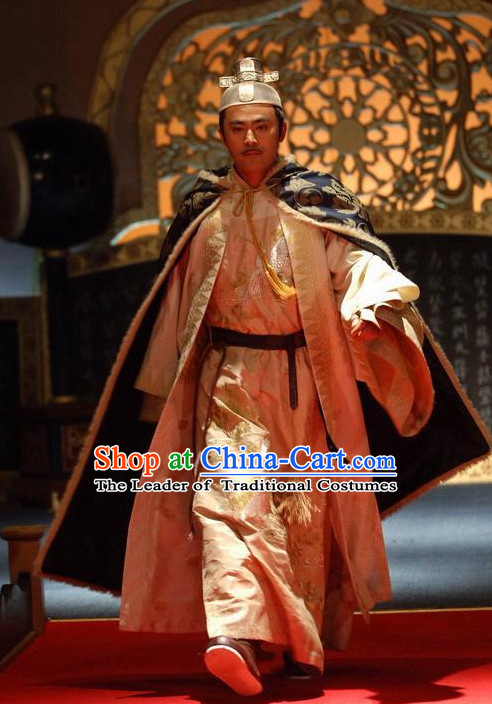 Chinese Ancient Emperor Hanfu Dress Authentic Clothes Culture Costume Han Dresses Traditional National Dress Clothing and Headdress Complete Set