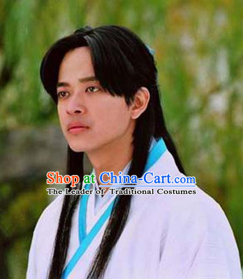 Ancient Chinese Style Long Black Wig for Men and Boys