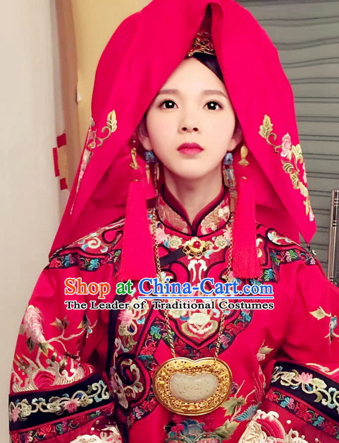 Qing Dynasty Chinese Traditional Style Wedding Necklace for Women Girls