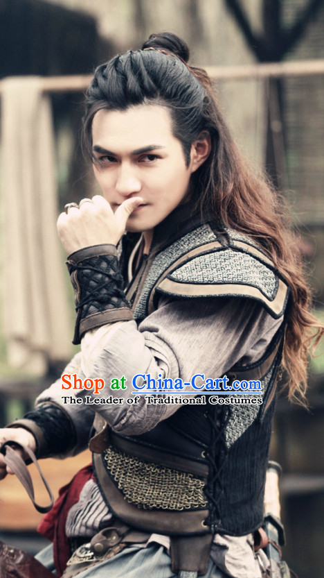 Ancient Chinese Traditional Style Long Black Curly Wigs for Handsome Men