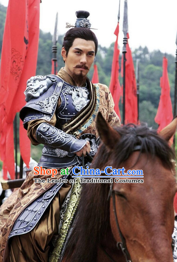 Ancient Chinese Style General Armor Costumes Dress Authentic Clothes Culture Han Dresses Traditional National Dress Clothing and Headdress Complete Set
