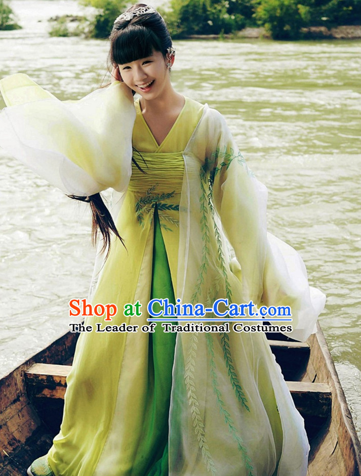 Ancient Chinese Style Beauty Hanfu Costumes Dress Authentic Clothes Culture Han Dresses Traditional National Dress Clothing and Headpieces Complete Set