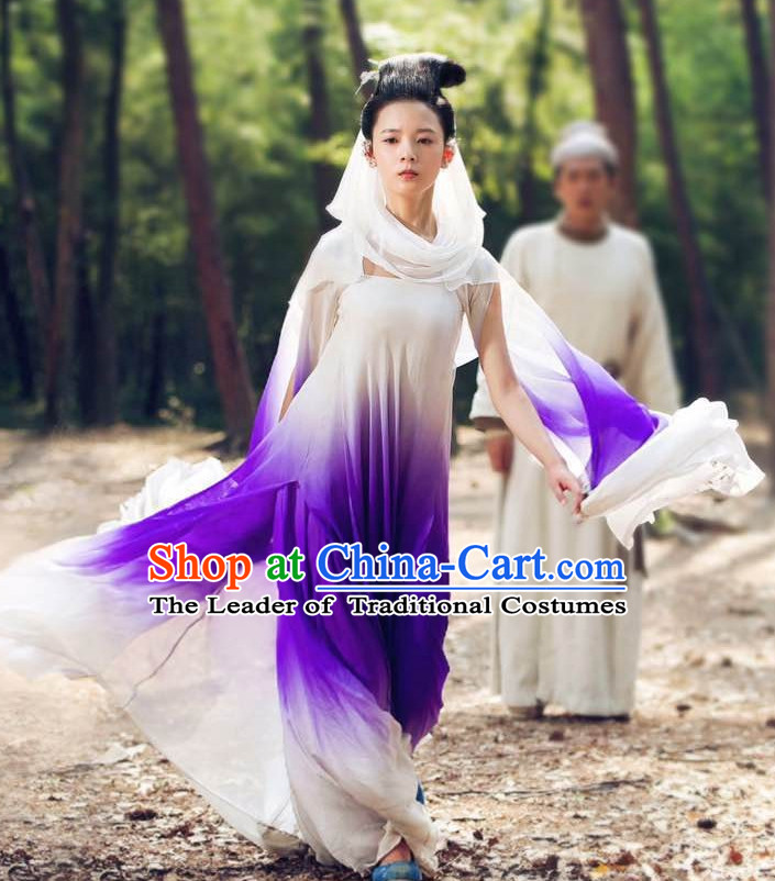 Ancient Chinese Style Fairy Hanfu Costumes Dress Authentic Clothes Culture Han Dresses Traditional National Dress Clothing and Headpieces Complete Set