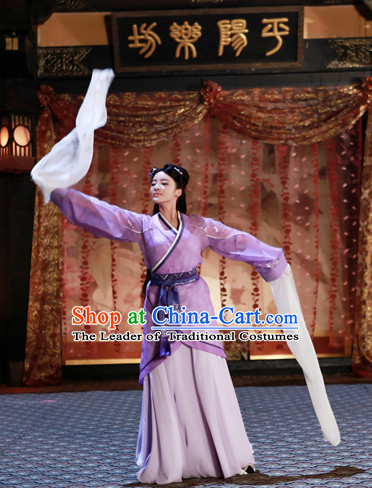 Ancient Chinese Style Water Sleeve Dancer Costumes Dress Authentic Clothes Culture Han Dresses Traditional National Dress Clothing and Headpieces Complete Set