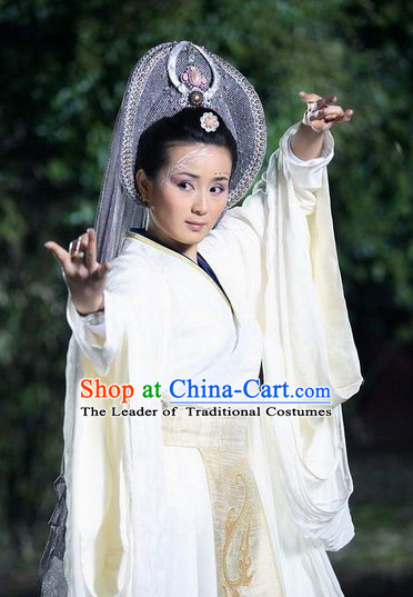 Ancient Chinese Style Fairy Costumes Dress Authentic Clothes Culture Han Dresses Traditional National Dress Clothing and Headpieces Complete Set for Brides