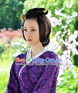 Ancient Chinese Style Palace Princess Black Long Wigs and Headdress