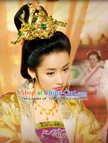 Ancient Chinese Style Palace Princess Black Long Wigs and Headdress Set